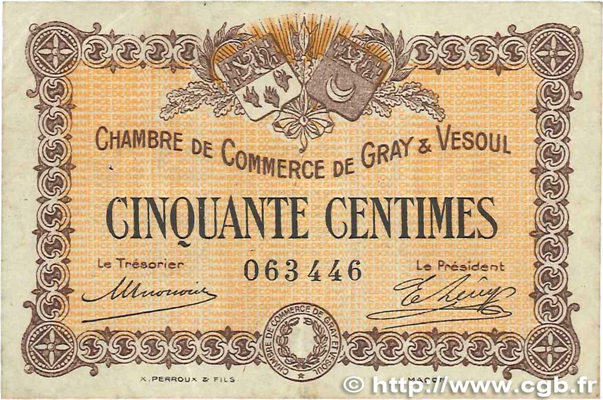 50 centimes france r gionalisme et divers gray et vesoul 1915 b99 3035 billets. Black Bedroom Furniture Sets. Home Design Ideas