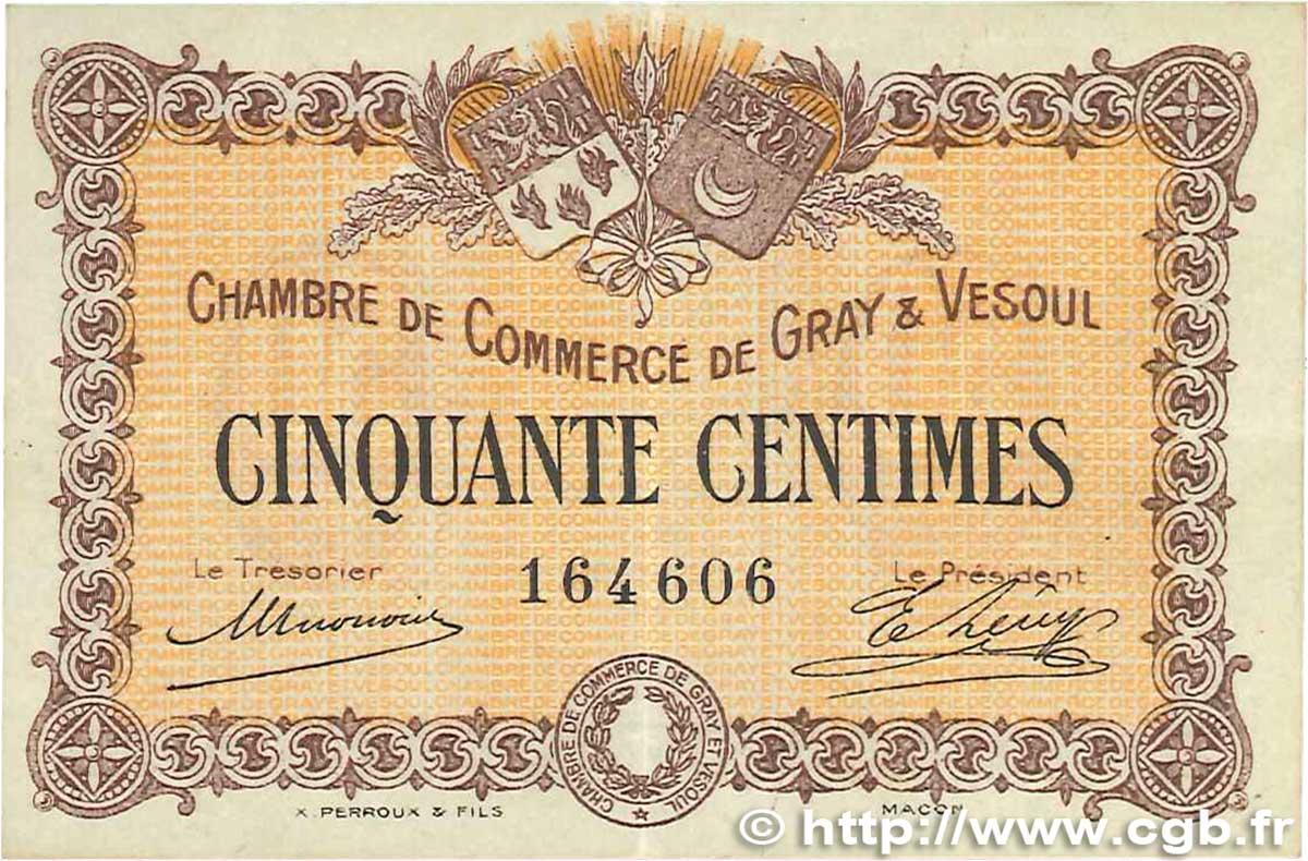 50 centimes france r gionalisme et divers gray et vesoul 1915 b99 3040 billets. Black Bedroom Furniture Sets. Home Design Ideas