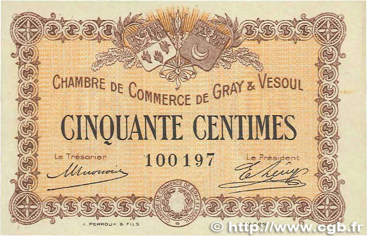 50 centimes france r gionalisme et divers gray et vesoul 1915 b99 3044 billets. Black Bedroom Furniture Sets. Home Design Ideas