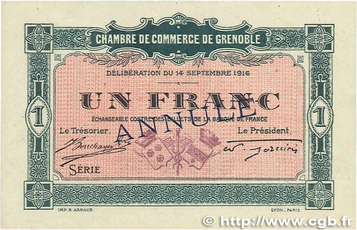 1 franc annul france regionalismus und verschiedenen grenoble 1916 b99 3067 banknoten. Black Bedroom Furniture Sets. Home Design Ideas