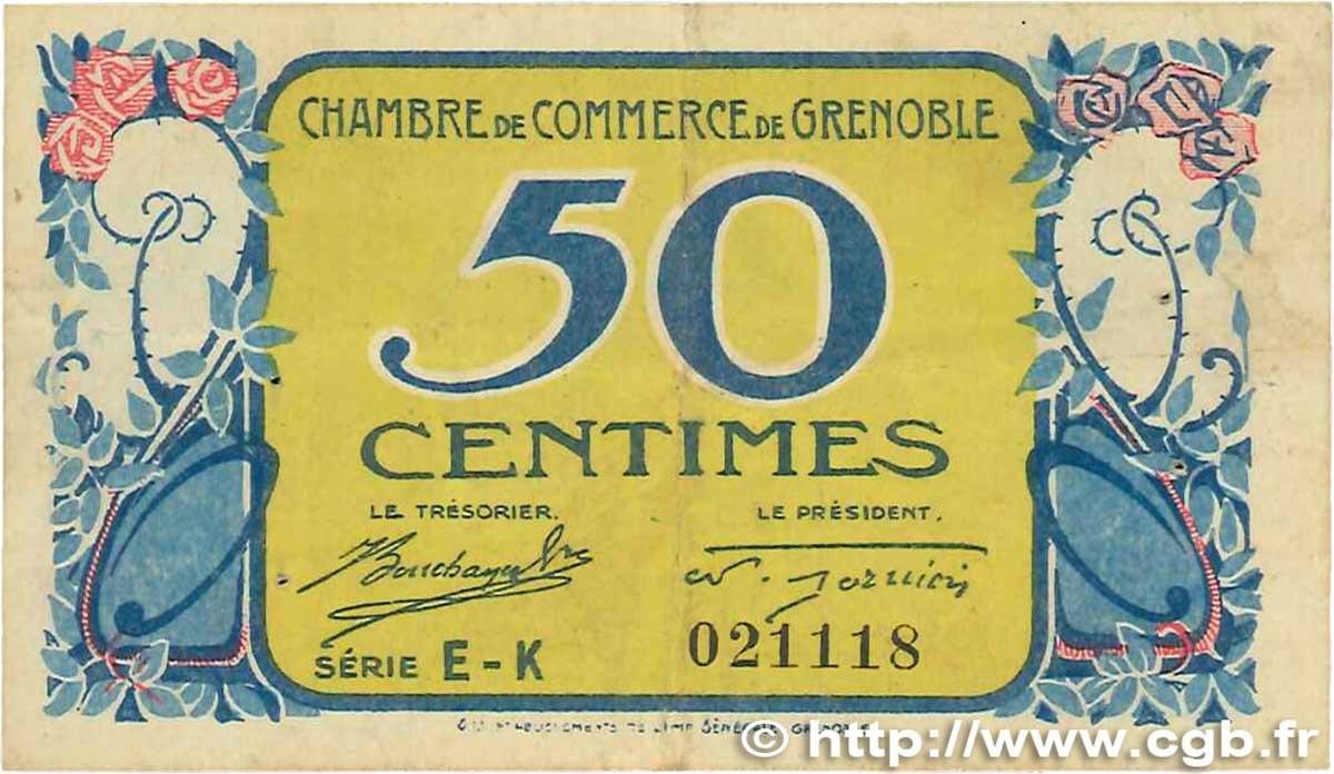 50 centimes france r gionalisme et divers grenoble 1917 b99 3070 billets. Black Bedroom Furniture Sets. Home Design Ideas