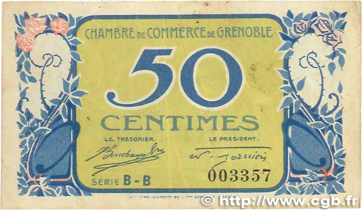 50 centimes france r gionalisme et divers grenoble 1917 jp for Chambre de commerce grenoble