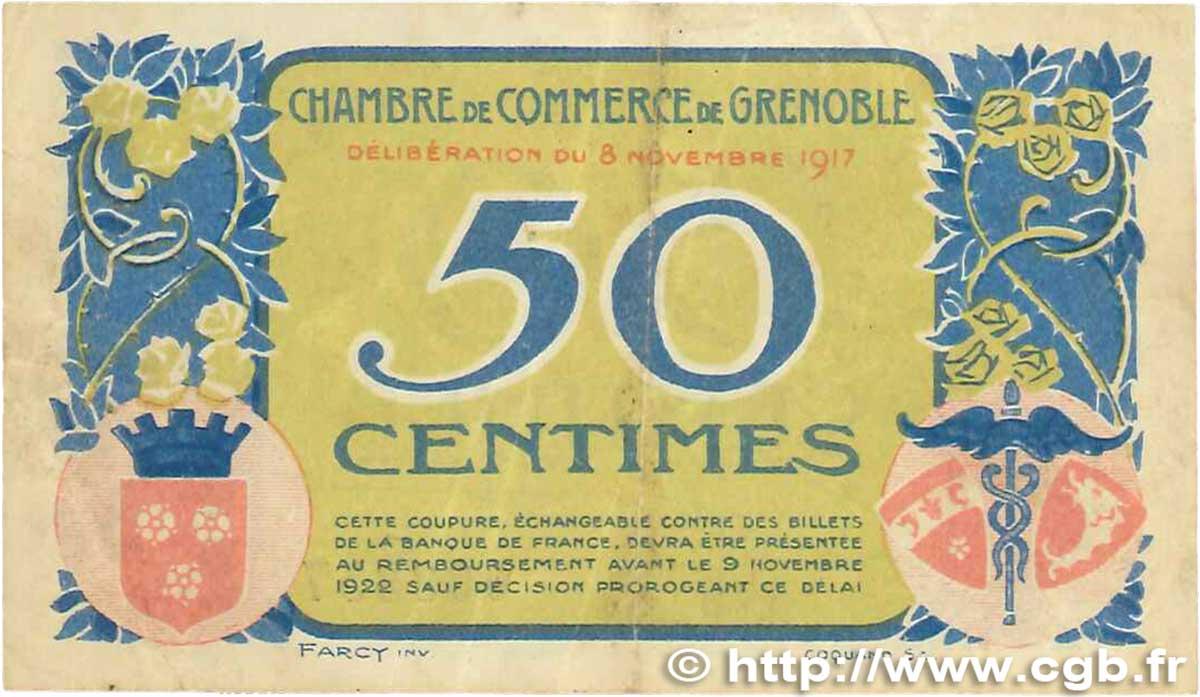 50 centimes france r gionalisme et divers grenoble 1917 tb b99 3072 billets. Black Bedroom Furniture Sets. Home Design Ideas