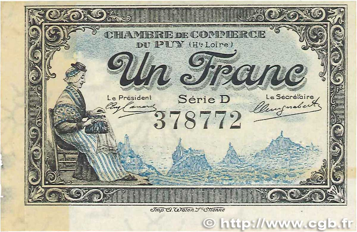 1 Franc  FRANCE regionalism and various Le Puy 1916 JP.070.09 VF+