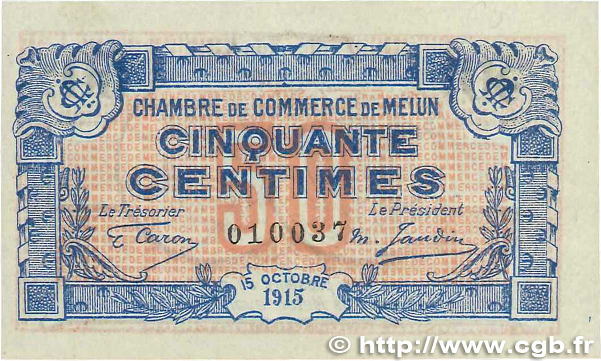 50 centimes france r gionalisme et divers melun 1915 sup b99 3289 billets. Black Bedroom Furniture Sets. Home Design Ideas