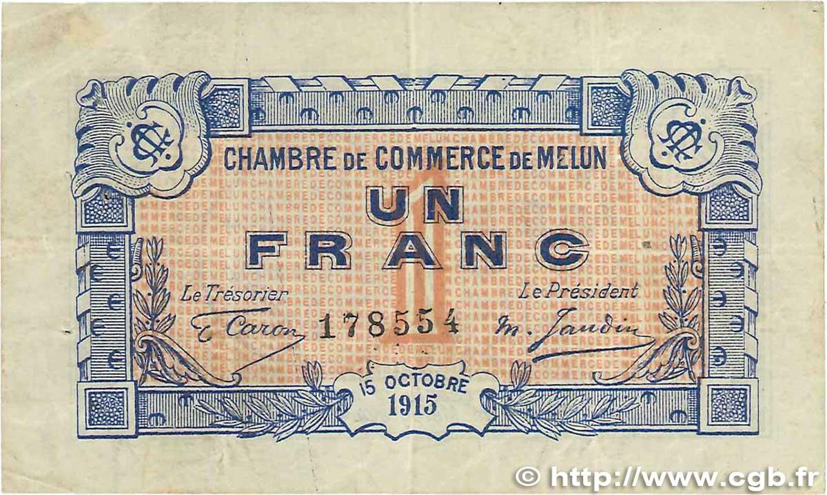 1 franc france regionalismus und verschiedenen melun 1915 b99 3291 banknoten - Chambre de commerce melun ...