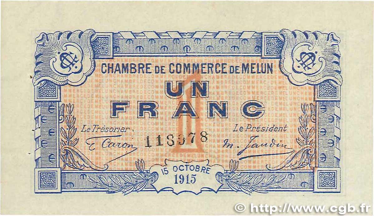 1 franc france r gionalisme et divers melun 1915 b99 3293 billets. Black Bedroom Furniture Sets. Home Design Ideas