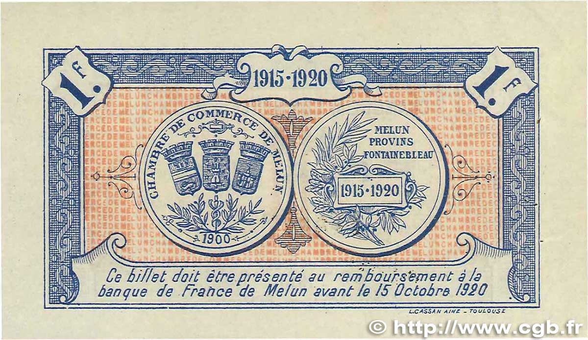 1 franc france regionalism and various melun 1915 xf b99 3293 banknotes. Black Bedroom Furniture Sets. Home Design Ideas