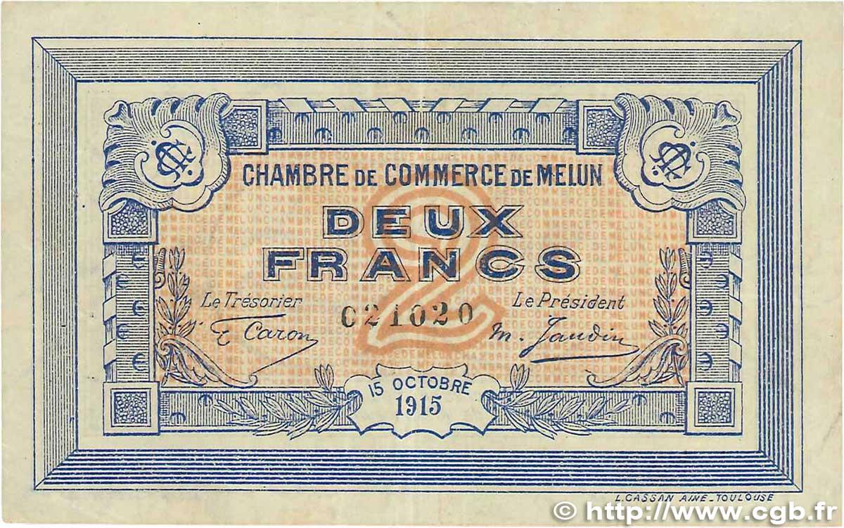 2 francs france r gionalisme et divers melun 1915 b99 3294 billets. Black Bedroom Furniture Sets. Home Design Ideas