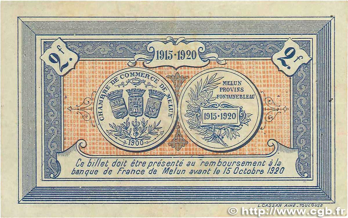 2 francs france r gionalisme et divers melun 1915 tb b99 3294 billets. Black Bedroom Furniture Sets. Home Design Ideas