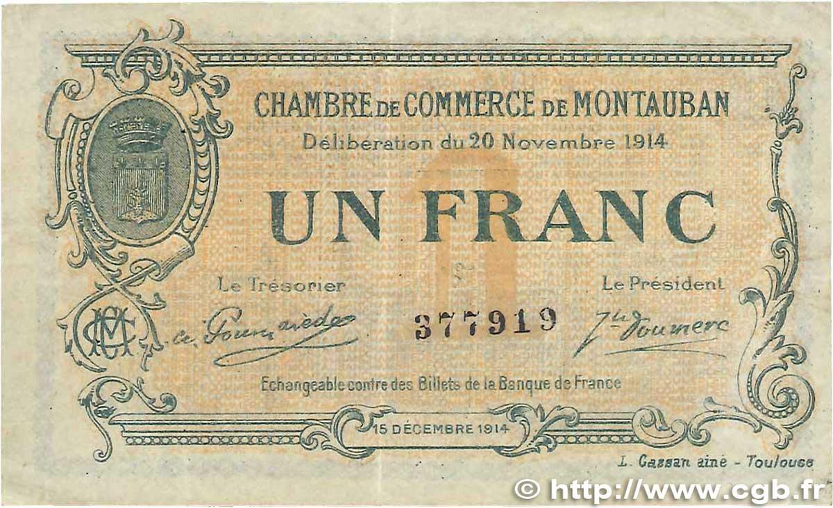 1 franc france r gionalisme et divers montauban 1914 b99 3309 billets. Black Bedroom Furniture Sets. Home Design Ideas