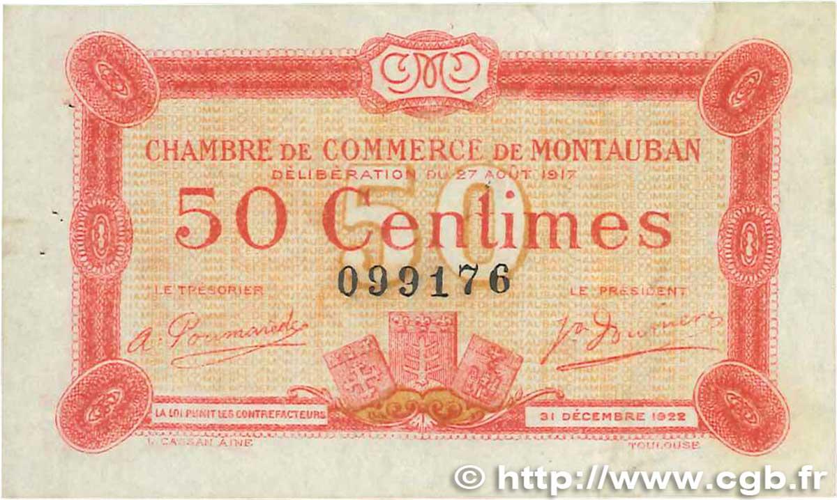 50 centimes france r gionalisme et divers montauban 1917 b99 3313 billets. Black Bedroom Furniture Sets. Home Design Ideas