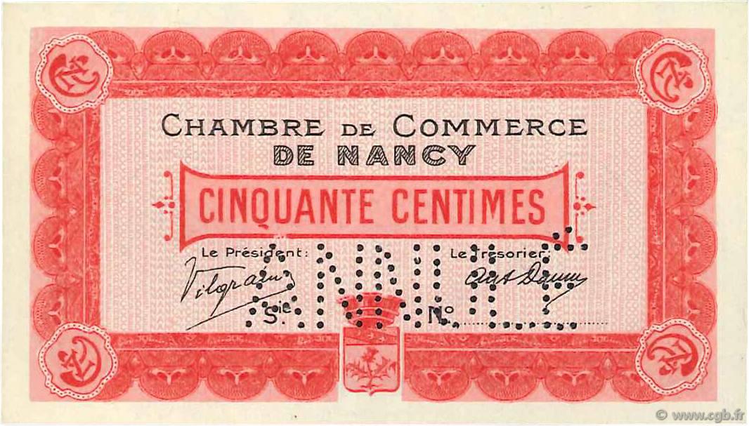 50 centimes france r gionalisme et divers nancy 1915 neuf b99 3409 billets. Black Bedroom Furniture Sets. Home Design Ideas