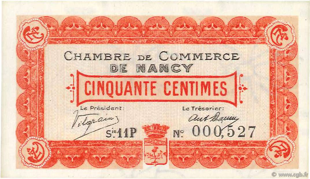50 Centimes  FRANCE regionalism and miscellaneous Nancy 1918 JP.087.20 UNC-