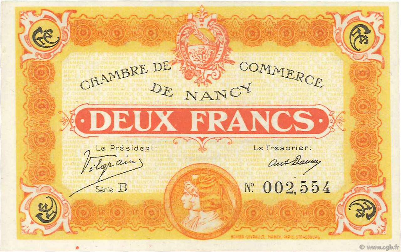 2 Francs FRANCE régionalisme et divers NANCY 1918 JP.087.25 SPL