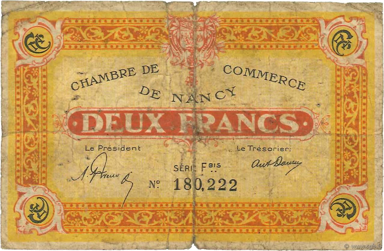 2 francs france r gionalisme et divers nancy 1921 ab b99 3425 billets. Black Bedroom Furniture Sets. Home Design Ideas
