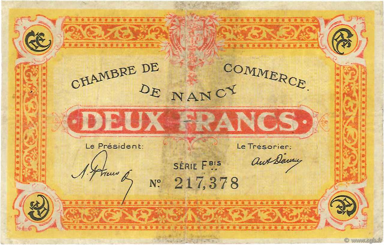 2 francs france regionalism and miscellaneous nancy 1921 b99 3427 banknotes. Black Bedroom Furniture Sets. Home Design Ideas