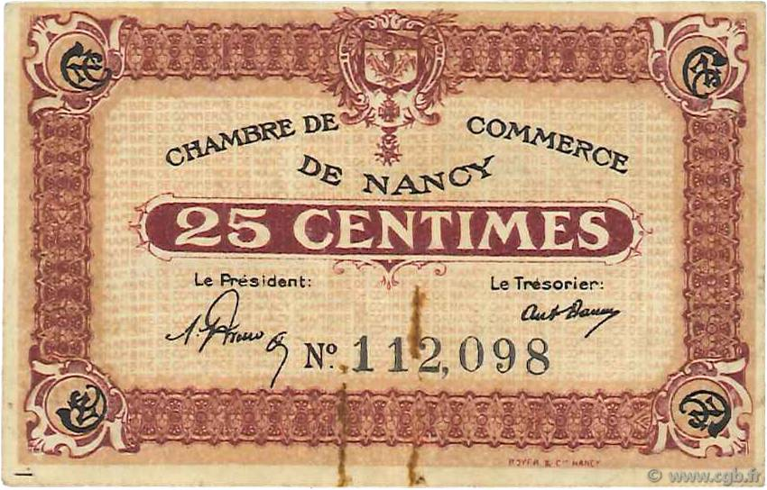25 Centimes FRANCE régionalisme et divers Nancy 1918 JP.087.56 TB