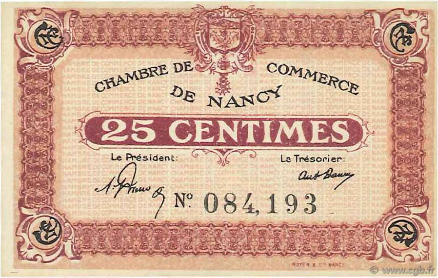 25 Centimes FRANCE régionalisme et divers NANCY 1918 JP.087.56 pr.NEUF