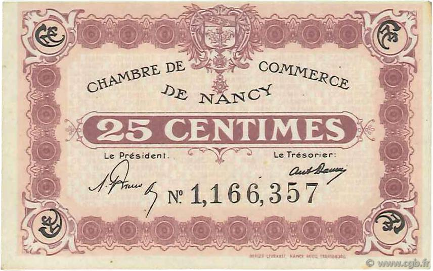 25 centimes france r gionalisme et divers nancy 1918 b99 3436 billets. Black Bedroom Furniture Sets. Home Design Ideas
