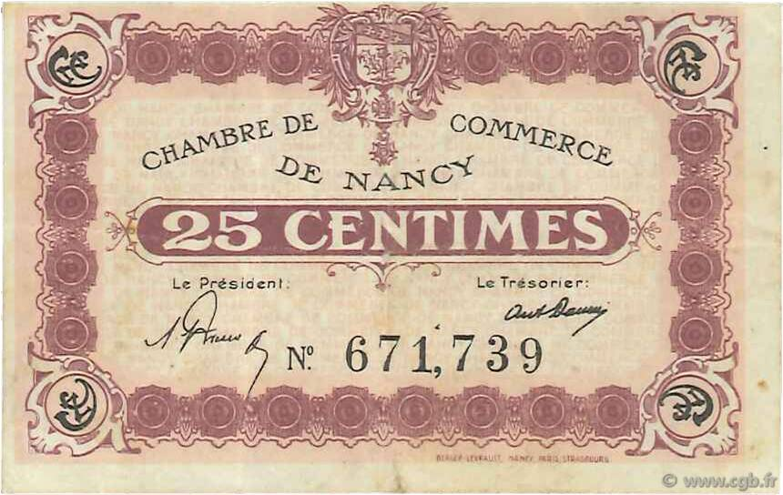 25 Centimes FRANCE régionalisme et divers Nancy 1918 JP.087.62 TB