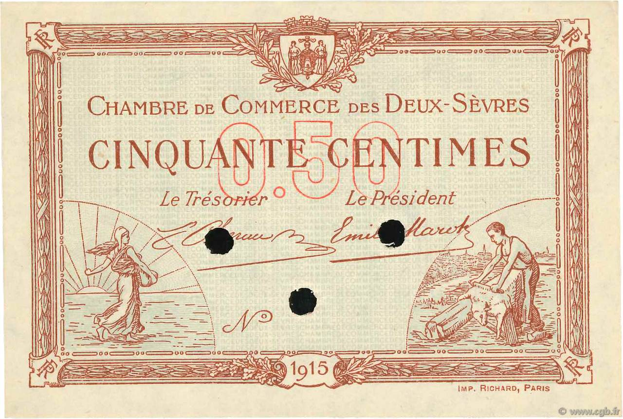 50 centimes sp cimen france r gionalisme et divers niort 1915 b99 3508 billets - Chambre de commerce niort ...