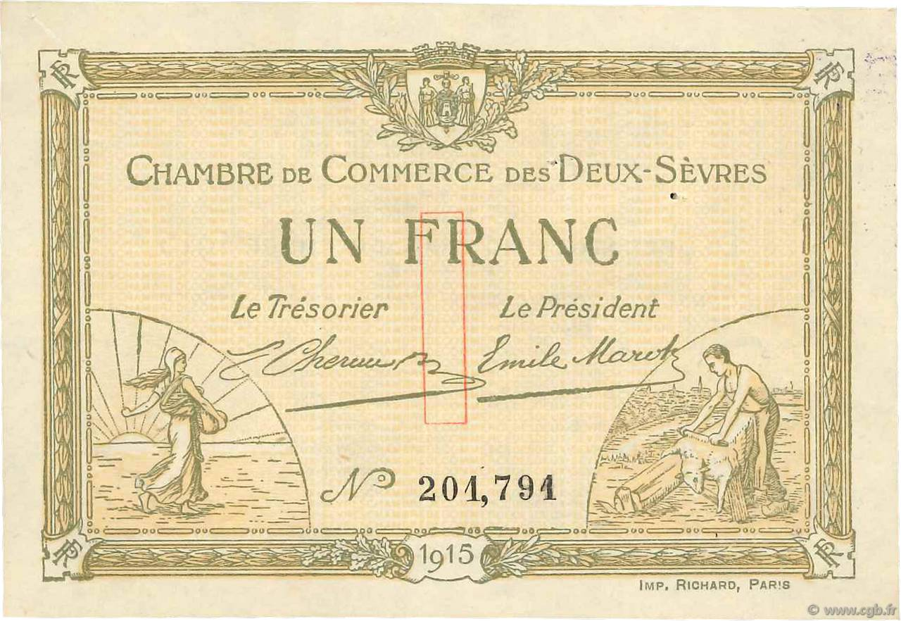 1 franc france r gionalisme et divers niort 1915 ttb b99 3509 billets - Chambre de commerce niort ...