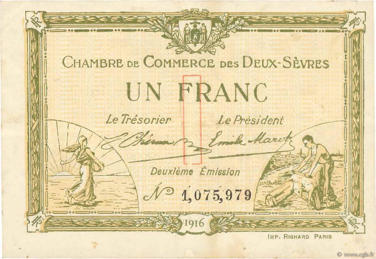 1 franc france r gionalisme et divers niort 1916 b99 3517 billets - Chambre de commerce niort ...