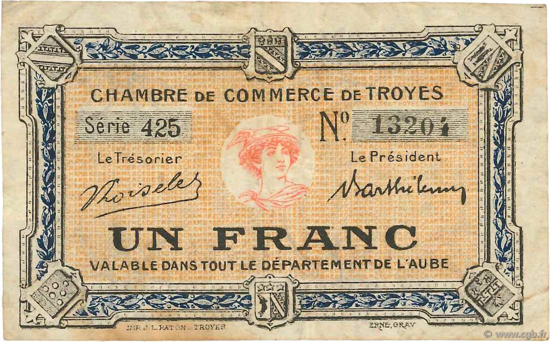 1 franc france regionalismus und verschiedenen troyes 1918 for Chambre de commerce de troyes