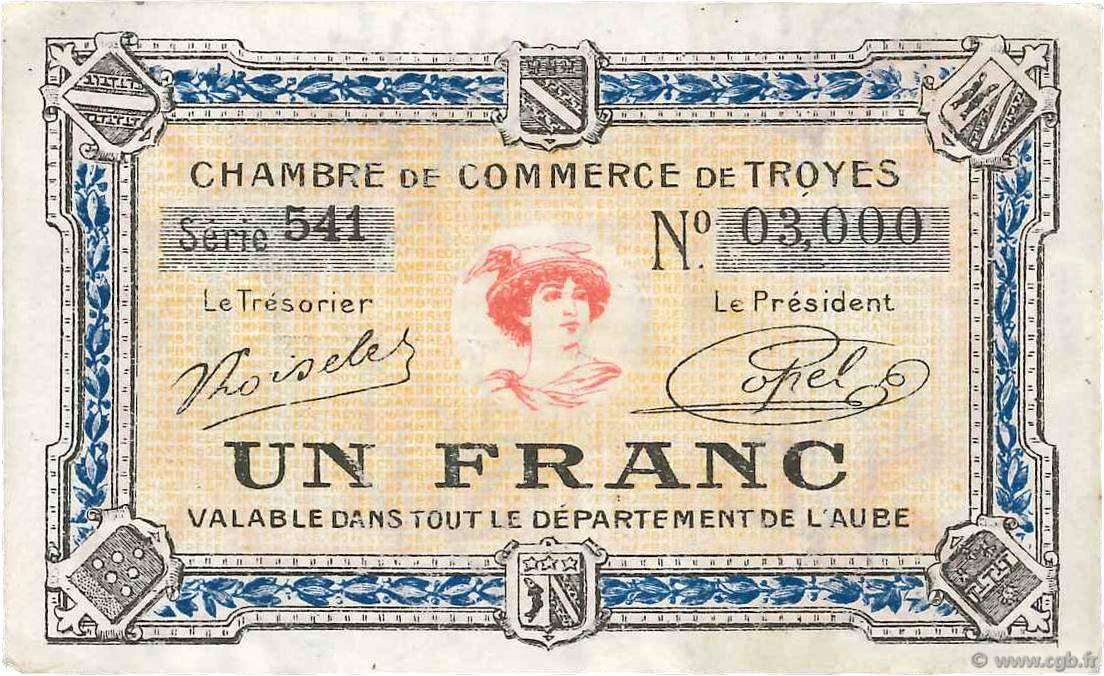 1 franc france r gionalisme et divers troyes 1918 b99 3570 billets. Black Bedroom Furniture Sets. Home Design Ideas