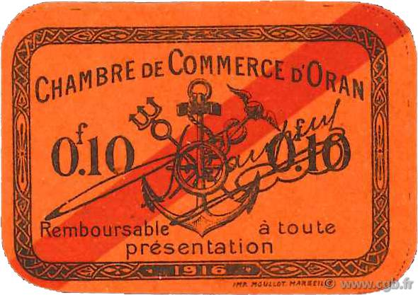 10 centimes france r gionalisme et divers oran 1916 for Chambre de commerce francaise en algerie