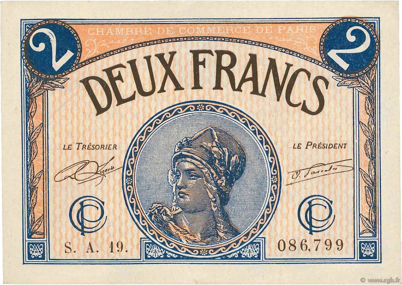 2 Francs FRANCE régionalisme et divers Paris 1920 JP.097.28 TTB