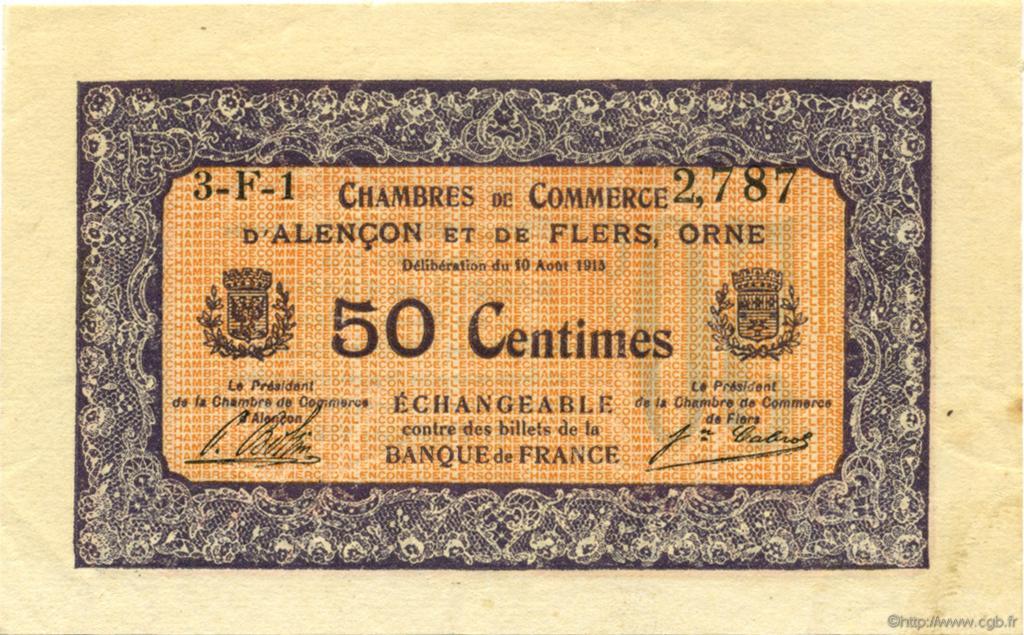 50 centimes france r gionalisme et divers alencon et flers 1915 c006 33n billets. Black Bedroom Furniture Sets. Home Design Ideas