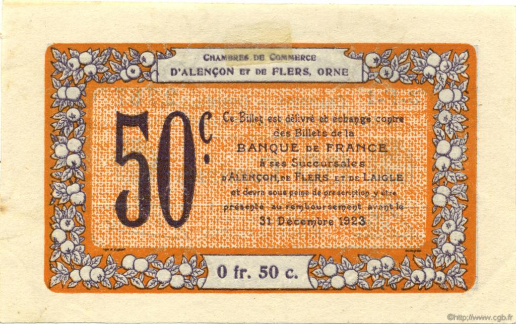 50 centimes france r gionalisme et divers alencon et flers 1915 spl neuf c006 33n. Black Bedroom Furniture Sets. Home Design Ideas