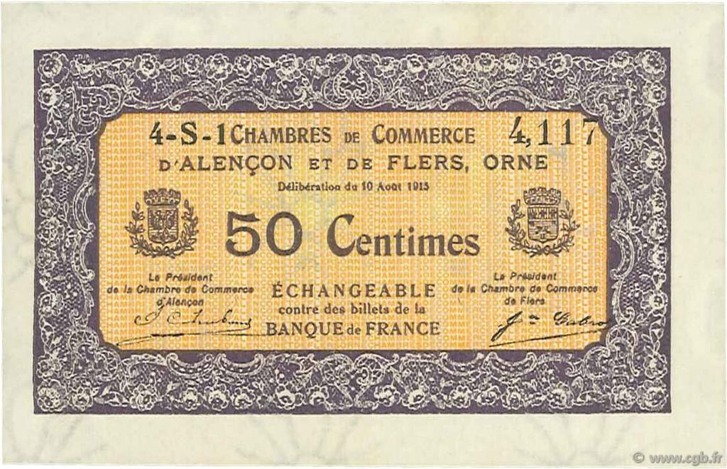 50 centimes france r gionalisme et divers alencon et flers 1915 c006 37n billets. Black Bedroom Furniture Sets. Home Design Ideas