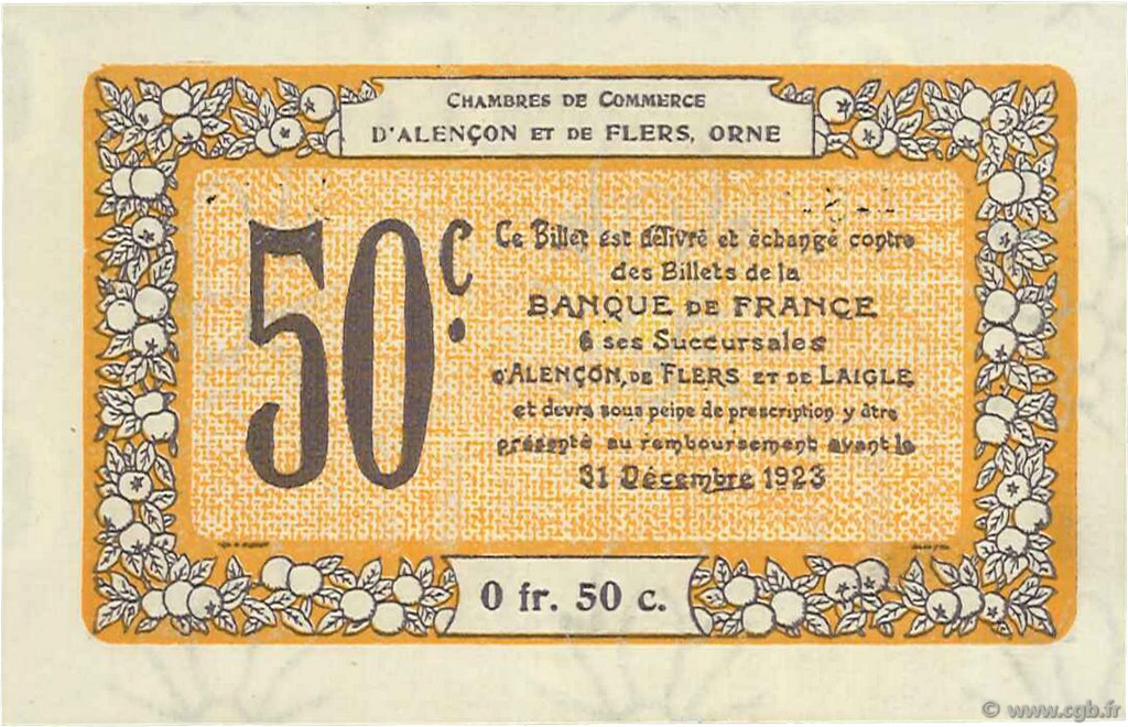 50 centimes france r gionalisme et divers alencon et flers 1915 spl neuf c006 37n. Black Bedroom Furniture Sets. Home Design Ideas