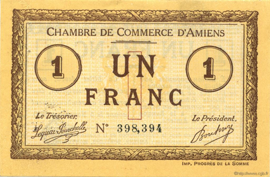 1 franc france regionalism and various amiens 1915 for Chambre de commerce amiens