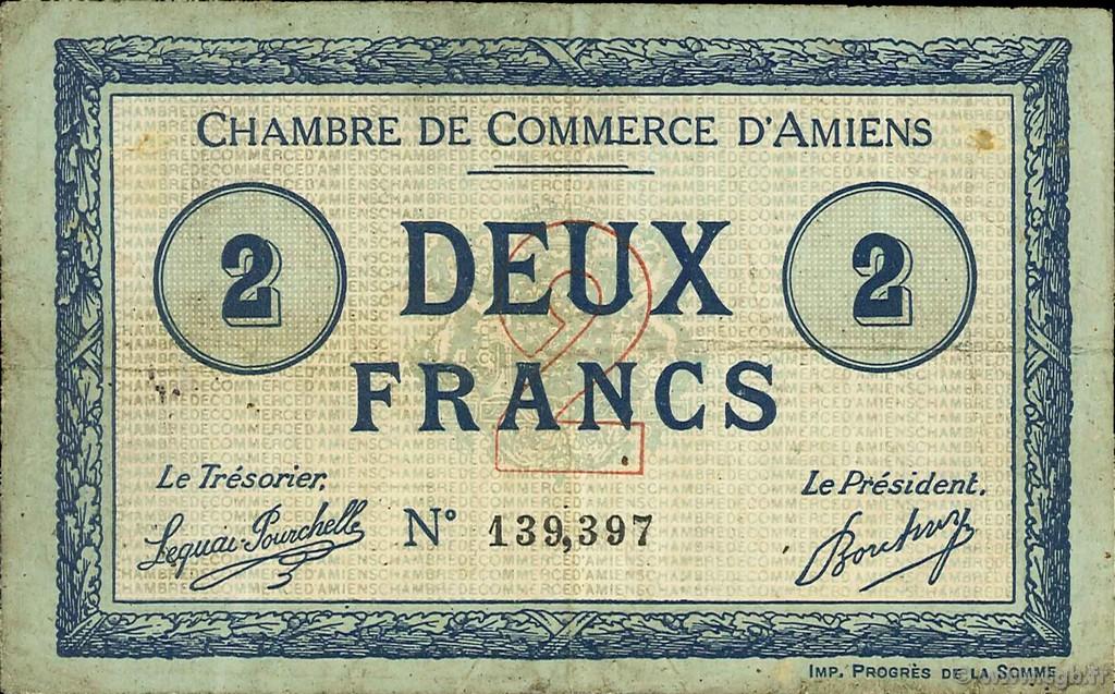 2 francs france regionalismo y varios amiens 1915 for Chambre de commerce amiens
