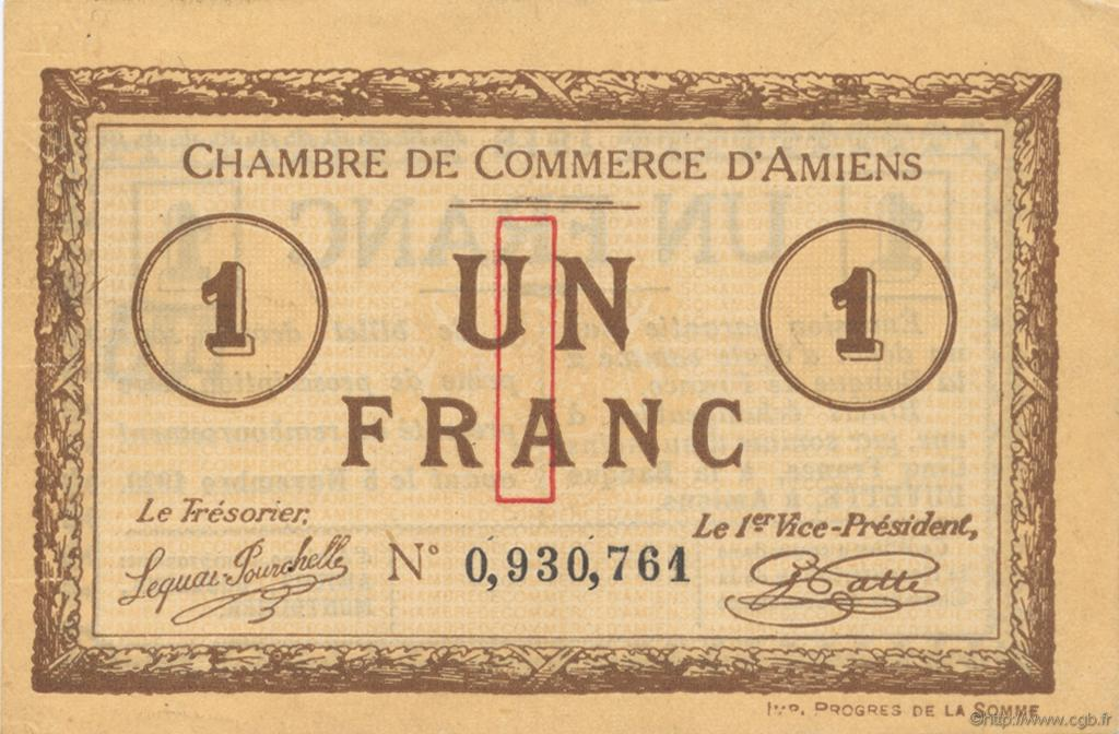 1 franc france regionalism and miscellaneous amiens 1915 for Chambre de commerce amiens