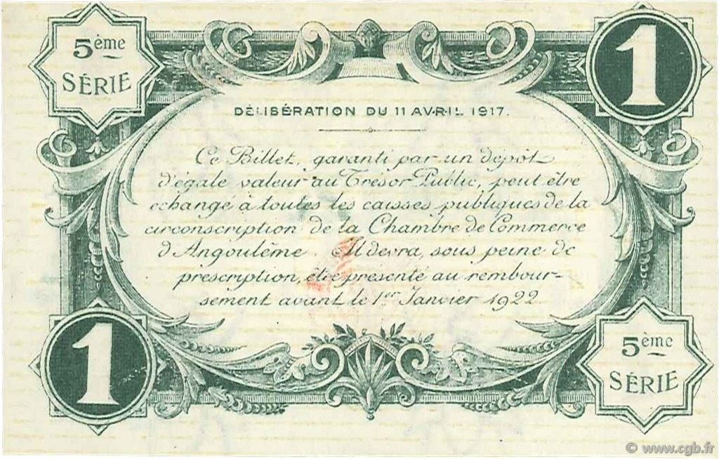 1 franc france r gionalisme et divers angoul me 1917 jp for Chambre de commerce angouleme