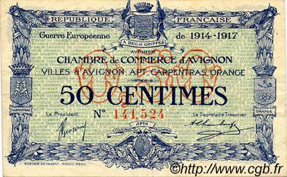 50 centimes france r gionalisme et divers avignon 1915 c018 13s billets. Black Bedroom Furniture Sets. Home Design Ideas