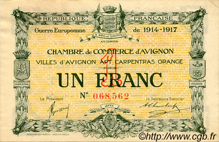 1 franc france r gionalisme et divers avignon 1915 c018 17s billets. Black Bedroom Furniture Sets. Home Design Ideas