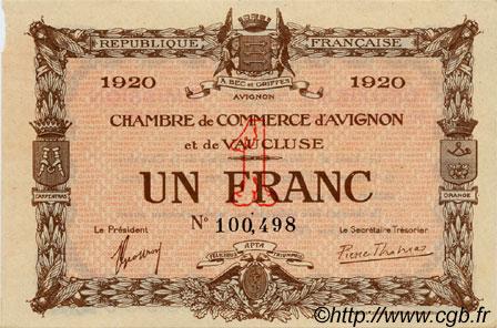 1 franc france r gionalisme et divers avignon 1920 c018 24s billets. Black Bedroom Furniture Sets. Home Design Ideas