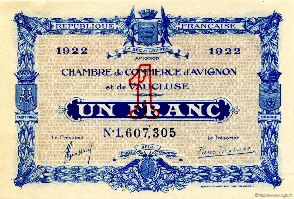1 franc france r gionalisme et divers avignon 1922 c018 29n billets. Black Bedroom Furniture Sets. Home Design Ideas