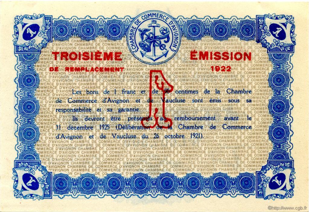 1 franc france r gionalisme et divers avignon 1922 spl neuf c018 29n billets. Black Bedroom Furniture Sets. Home Design Ideas