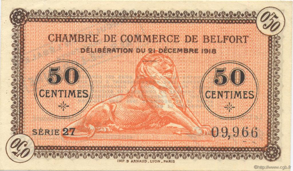 50 centimes france r gionalisme et divers belfort 1918 c023 48n billets. Black Bedroom Furniture Sets. Home Design Ideas