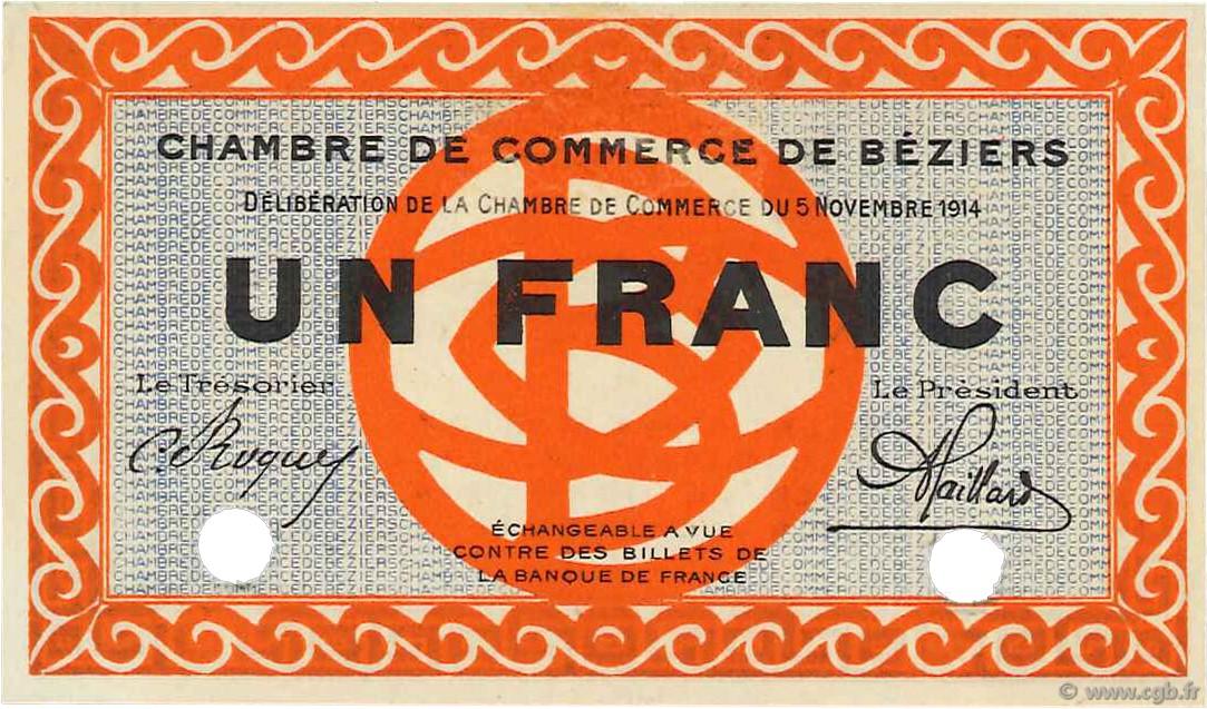 1 franc sp cimen france r gionalisme et divers b ziers 1914 c027 02n billets. Black Bedroom Furniture Sets. Home Design Ideas