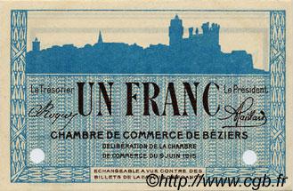 1 franc france r gionalisme et divers b ziers 1915 c027 16n billets. Black Bedroom Furniture Sets. Home Design Ideas