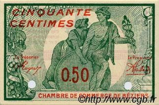 50 centimes sp cimen france r gionalisme et divers b ziers 1916 c027 21n billets. Black Bedroom Furniture Sets. Home Design Ideas