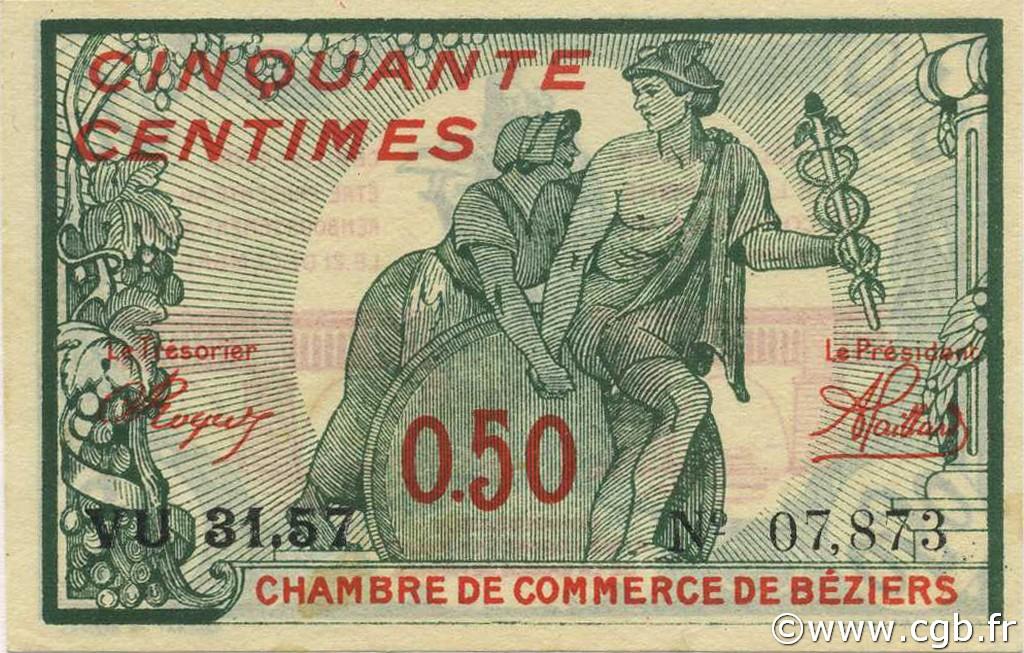 50 centimes france r gionalisme et divers b ziers 1920 c027 27n billets. Black Bedroom Furniture Sets. Home Design Ideas